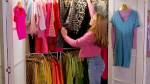 I always wanted a closet like this one. Look at all the clothes and colors!
