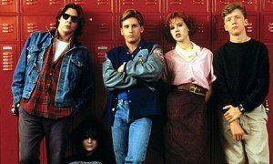 From left to right: Judd Nelson as Bender, Ally Sheedy as Allison, Emilio Estevez as Andrew, Molly Ringwald as Claire, Anthony Michael Hall as Brian