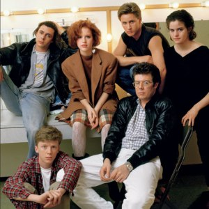 John Hughes with the cast of The Breakfast Club