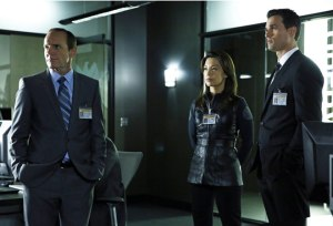 Clark Gregg as Agent Coulson (left), Ming-Na Wen as Melinda May (center), and Brett Dalton as Agent Ward (right).