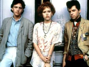 Andrew McCarthy as Blane (left), Molly Ringwald as Andie (center), & Jon Cryer as Duckie (right)