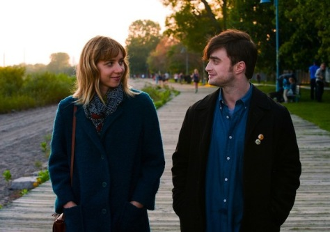 Zoe Kazan as Chantry (left) and Daniel Radcliffe as Wallace (right)
